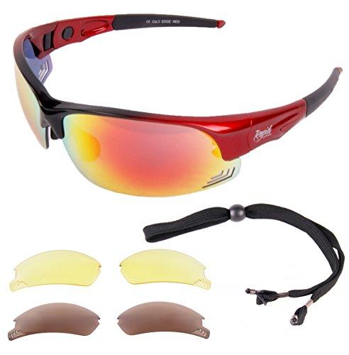 Rapid Eyewear Edge Rot UV400 Sport Sonnenbrille mit polarisierten Wechselgläsern. Passend für Damen und Herren. Brille Zum Fahren, Laufen, Schießen Etc.
