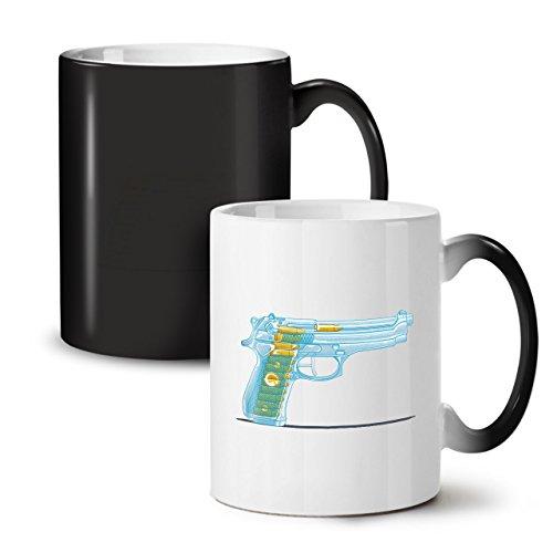 Wellcoda Transcluent Gewehr Schwarz Farbwechsel Tee Kaffee Keramisch Becher 11 oz