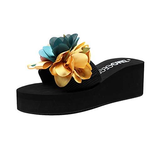 LILIHOT Damen Sandalen Mode Frauen Slip-on Open Toe Wedges Heels Kausal Flower Slipper Slides Schuhe Freizeit Schuhe Sommer Pantoletten Vintage Sommerschuhe Strandschuhe Stiletto Heel Slide