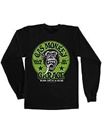 Mercancía Con Licencia Oficial Gas Monkey Garage - Green Logo Manga Larga Camiseta (Negro)