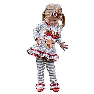 Mädchen Weihnachtenkleidung MEIbax Kleinkind scherzt Baby Weihnachtshirsch T-Shirt Spitzen Streifen Hosen Prinzessin Outfits