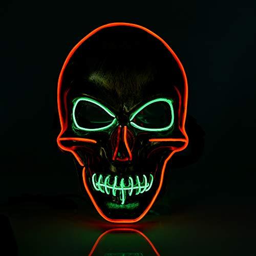 HISOME Light Up Maske, LED Halloween Maske Leuchtendes Licht LED Rave Masken Cosplay Gesichtsmaske LED Staubmaske LED Blinkende Maske für Männer Frauen Weihnachten Halloween Party (Gold)