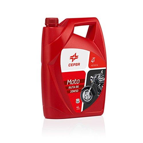 CEPSA 514233601 Moto 4T Ruta 66 20W50 Mineralöl Mehrbereichs-Schmierstoff für Viertakt-Motorräder, 4 L