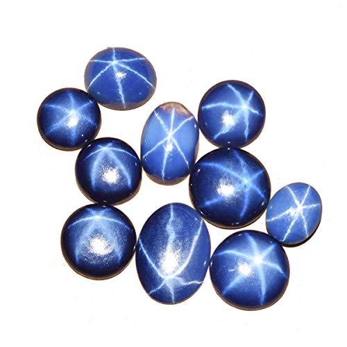 20 ct - 10 pezzi naturali 6 raggi preziose stelle blu zaffiro gemme sciolte lotto ovale cabochon blu stella zaffiro