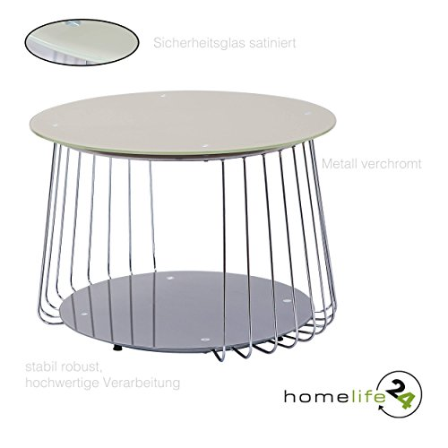 Design Beistelltisch Couchtisch Rund Wohnzimmertisch Aus Metall Mit  Sicherheitsglas Verchromt In Cappuccino