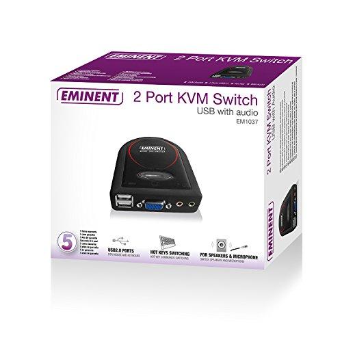 Eminent EM1037 Switch 2 Porte KVM, Nero