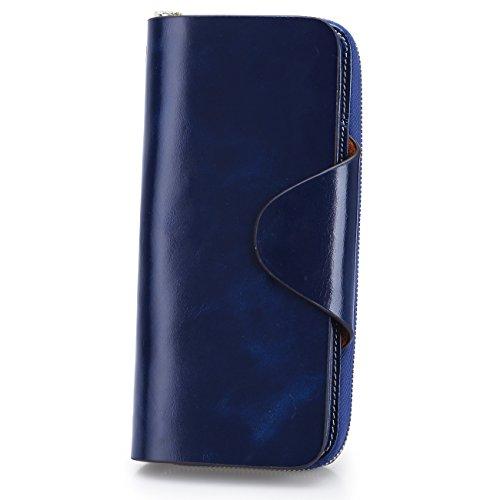 S-ZONE Unisex Organisator Mappen Echtes Leder Große Trifold Kupplungs Geldbeutel Karten Kasten (Blau) (Billig Kupplung Brieftasche)