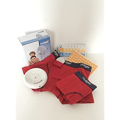 Rodger wireless bedwetting enuresis alarm system (128cms 7/8 years, BOYS Red Boxer Short)