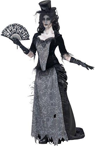 Damen Wilder Westen Witwe Ghost Stadt Mädchen Saloon Halloween Kostüm Kleid Outfit 8-18 - Schwarz, 12-14 (Schwarze Witwe Kostüme Für Kinder)