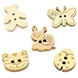 Pack of 25 - 2 Holes Mixed Butterfly, Ladybird, Snail, Teddy Bear, Tiger Cat Wooden Buttons, for Sewing, Scrapbooking, Embelishments, Crafts, Jewellery making, shabby chic, Knitting,