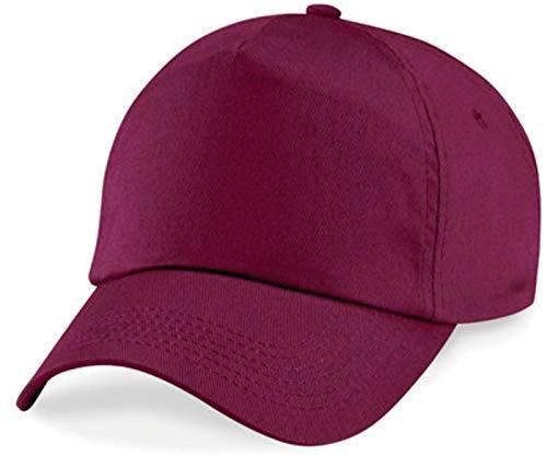 Basecap Cap 5 Panel Cap Verschluss Klettverschluss Größe Unisex, Farbe burgundy 5-panel Twill Cap