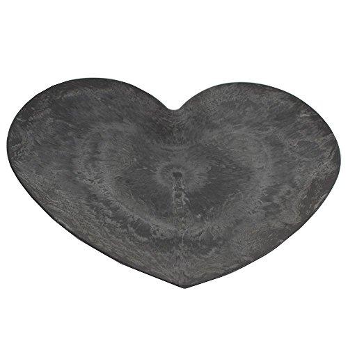 Dekoschale Herz anthrazit 24,5 x 22,5 x 2 cm in Schieferoptik