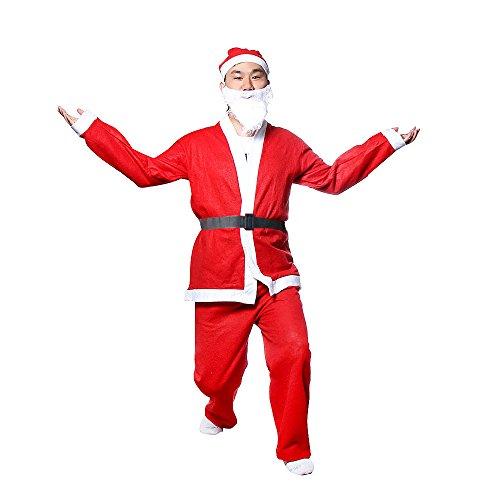 CLOOM Weihnachtsmann Kostüm, 5-teilig, Rot Hochwertig Schäfchenplüsch Deluxe Kleidung Jacke + Hose + Gürtel + Bart + Hut Weihnachtsmann Santa Santakostüm Santa Plüsch Luxus Nikolaus Kleidung (Rot)