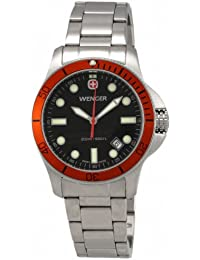 Wenger 'Battalion 72343' Diver 200M Stainless Steel Bracelet Watch With Orange Bezel