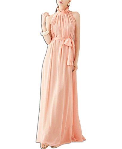 KAXIDY Donna Vestiti Senza Maniche Abiti di Sera Elegante Abiti Sezione Lunga Vestiti (Rosa)