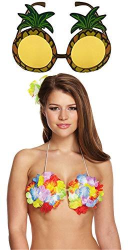 Labreeze Damen Hawaiianische Blume Hula Bra Ananas-Sonnenbrille Strand Party Kostüm-Set (Hawaiianische Kostüm)