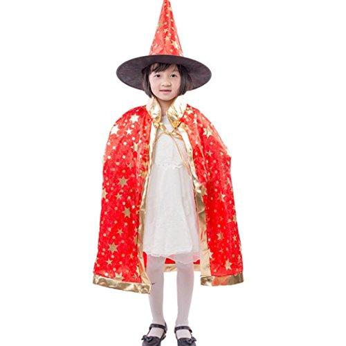 HLHN Halloween Party Umhang, Hexe Satin Karneval Fasching Kostüm Umhang Kap Robe und Hut für Kinder (Rot)