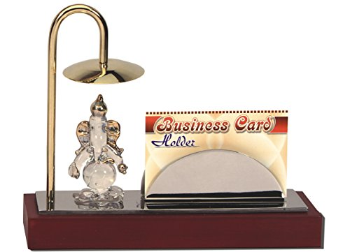 YNA Brass & Stainless Steel Home Office Decor Item in Gold & Silver Plating Ganesh Ji Showpiece Figurine with Visiting card holder For Diwali Gift, Small Temple, Spiritual Décor, Festive Décor, Divine Lord Ganesha Idol, Bhagwanji Gifts, Spiritual Gifts, Gift Set, Cheap Gifts, Tabletop, Car, Table Clock, Corporate Gift  available at amazon for Rs.575