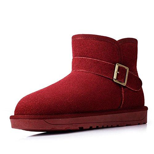Snow Boots classic Snow Boots femmina tubo corto fibbia pattino caldo scarpe di cotone Red wine