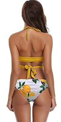 SHEKINI Damen Triangel Zweiteilige Strandkleidung Bandeau Strandmode Bikini Set Bademode Badeanzug Neckholder Gepolstert Tankini Verband Crossover Push Up Sport Split Blumen Druck