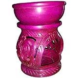 Hand Feel Shoppe Pink Soapstone Tea Light / Candle / Votive Holder / Oil Burner With Floral Engraving