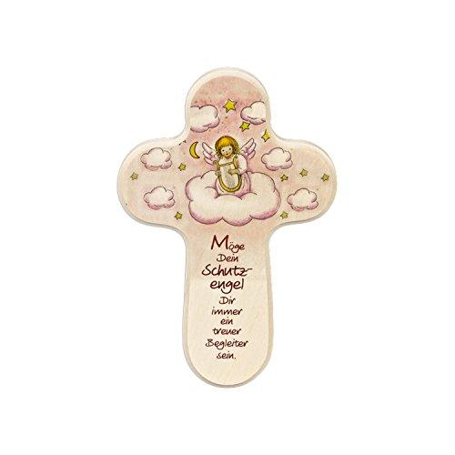 Kreuz Für Kinderzimmer | Taufkreuz Kinderkreuz Fur Madchen In Rosa Holz Schutzengel Mit