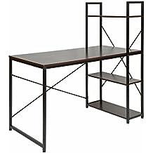 ts-ideen Escritorio de madera mesa de trabajo para el PC fibra de madera marco de metal Negro