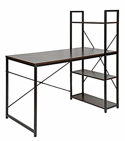 ts-ideen Bureau table étagère réglable intégrée noir montage à droite