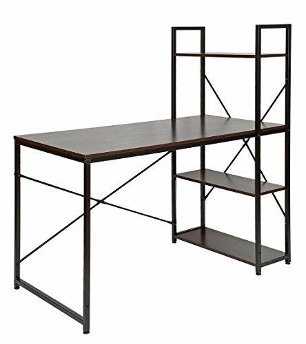 b-Tisch Bürotisch Computertisch Arbeitstisch mit Regal Metallgestell in Schwarz Tischplatte aus Walnussholz ()