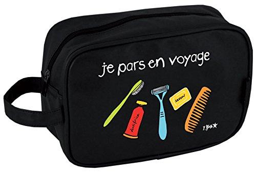 Incidence Paris 60208 Trousse de toilette rectangulaire Je pars en voyage Noire Façon cuir Fermeture zip Anse de transport Poche intérieure zippée, 24 cm, Noir