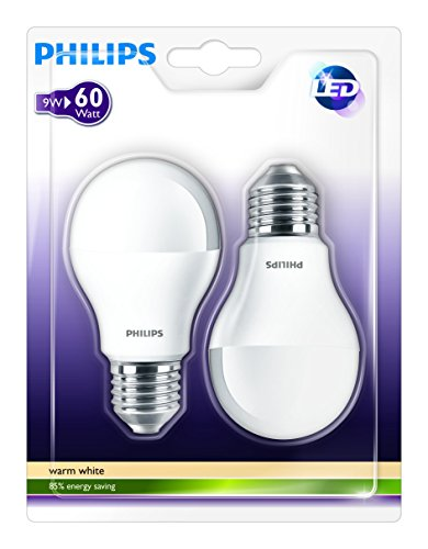 Philips 929000220661 - Pack de 2 bombillas LED estándar mate, 60W, casquillo E27, luz cálida, no regulable