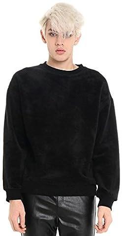 Pizoff Unisex Hip Hop Urban Basic Sweat-shirts en velours à épaules tombantes Y1537-L