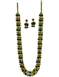 Sarpi Crafts Golden & Green Silk Thread Necklace Set For Women