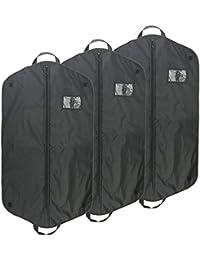 Anteck Bolsas de Nailon Transpirable plegadas Oxford para Ropa con Agujero Superior y Asas para Viajar, 3 Unidades, 110 x 60 cm, Color Negro