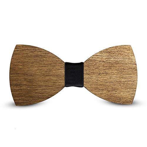 Laserò Holz Fliege   Klassische Smoking & Anzug Dekorationen für Party, Abschlussball und Hochzeit   Braune Fliege für Herrenmode und Kleidung   Handgefertigte italienische Fliege (schwarz)