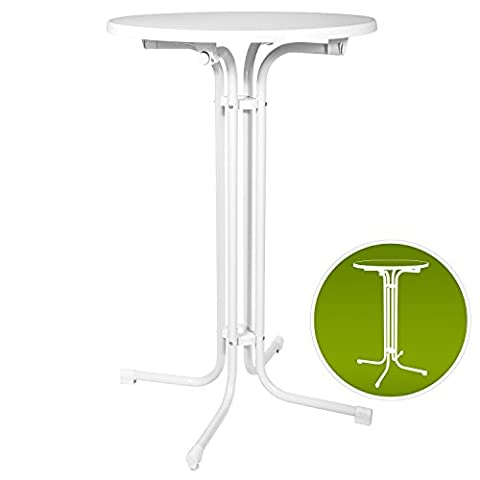 Table de bistrot pliante - Mange debout pliable - Ronde - jardin terrasse balcon - Bellini - Blanc - Ø 80x110cm -