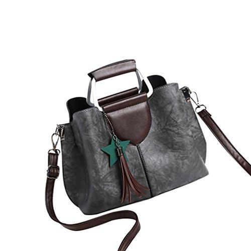 YouPue 2017 Neue Frauen Handtaschen Kunstleder Crossbody Schulterbeutel Tasche Quaste Ornamente Dunkel Grau
