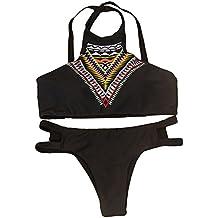 Trajes de baño para mujer,RETUROM Moda Bohemia alta cuello bikini Set traje de baño acolchado Bra Beachwear