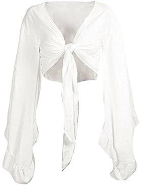 Hibote Mujer Blusas Tops con Volantes - Mujeres Camisas Cortas Blusa con Cordones V Profundo Sexy Off Belly Top...