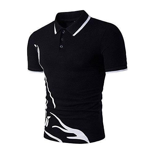 DAY.LIN T Shirts Männer Herren Neue Heiße Männer Schlank Sport Kurzarm Casual Polo Shirt T-shirts T-Tops (schwarz, M=EUS) -