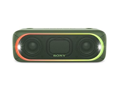 Sony Lautsprecher Bass (Sony SRS-XB30 Tragbarer, kabelloser Lautsprecher (farbige Lichtleiste, Stroboskoplicht, Extra Bass, Bluetooth, NFC, wasserabweisend, bis zu 24 Stunden Akkulaufzeit, Wireless Party Chain) Grün)