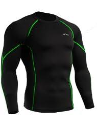 emFraa Homme Femme Sport Compression Black Base layer T-Shirt Long sleeve S~2XL