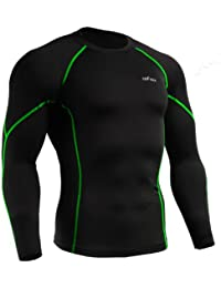emFraa Homme Femme Sport Compression Black Base layer T-Shirt Long sleeve S~2XL