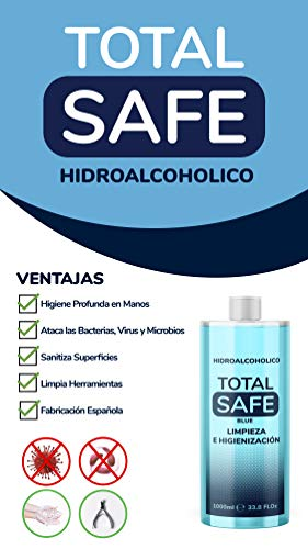 Total Safe 3 x 1000ml Blue | Ideal para una higiene profunda de manos - Hidroalcoholico | Antiséptico 1 Litro para desinfectar cualquier superfice