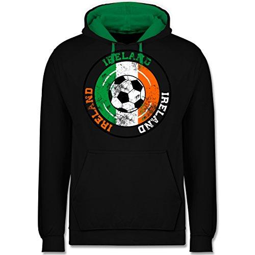 Fußball - Ireland Kreis & Fußball Vintage - Kontrast Hoodie Schwarz/Grün
