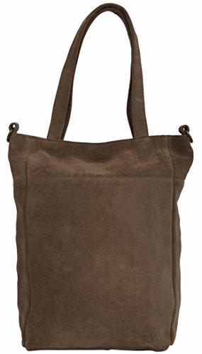 """Gusti Cuir studio """"Olivia"""" sac de courses cabas en cuir sac à bandouliére sac porté épaule sac à main femme cuir de daim marron foncé 2H21-26-1"""