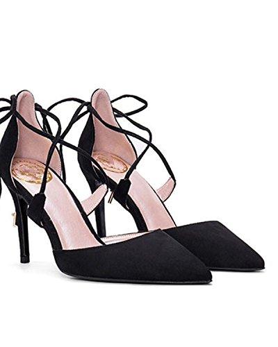 SHUNLIU Damen Wildleder Sandalen Offen Knöchelriemchen High Heel Sandalen mit Schnalle Elegante Wildleder Hoch Absatz Stiletto Sandalen Schwarz