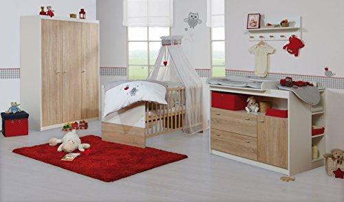 roba Komplett-Kinderzimmer \'Gabriella\', Babyzimmer Set, inklusive Kombi Kinderbett 70 x 140 cm, breite Wickelkommode & 3-türigem Kleiderschrank, bicolor