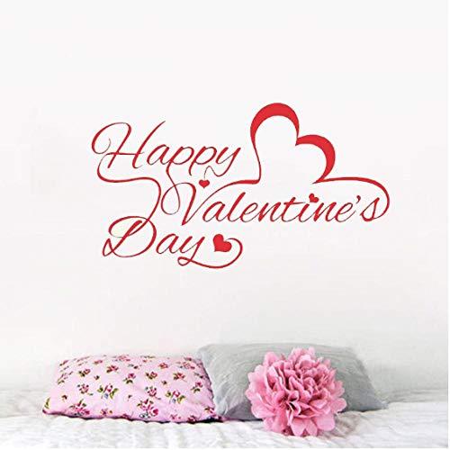 Zitat Wandaufkleber Happy Valentine'S Day Wandaufkleber Schaufenster Dekor Home Decel Muster Vinyl Innenwandbild 57x32cm (Valentines Day Dekor)