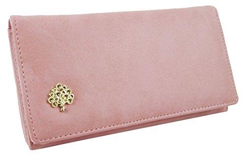 Kukubird Morbida Ecopelle Con Frontale In Metallo Albero Abbellimento Dettaglio Ladies Borsa Clutch Wallet Pink